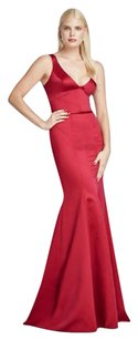 Zac Posen Satin Red Glamorous Plunging Neckline Dress