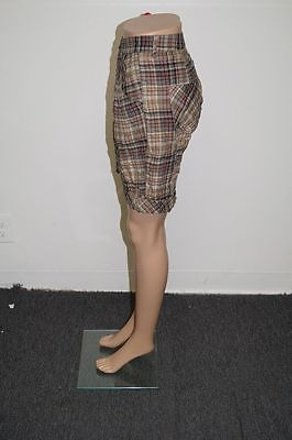 Zara Basic Green Knee Length Button Fly Side Pockets Plaid Shorts 22139 delicate