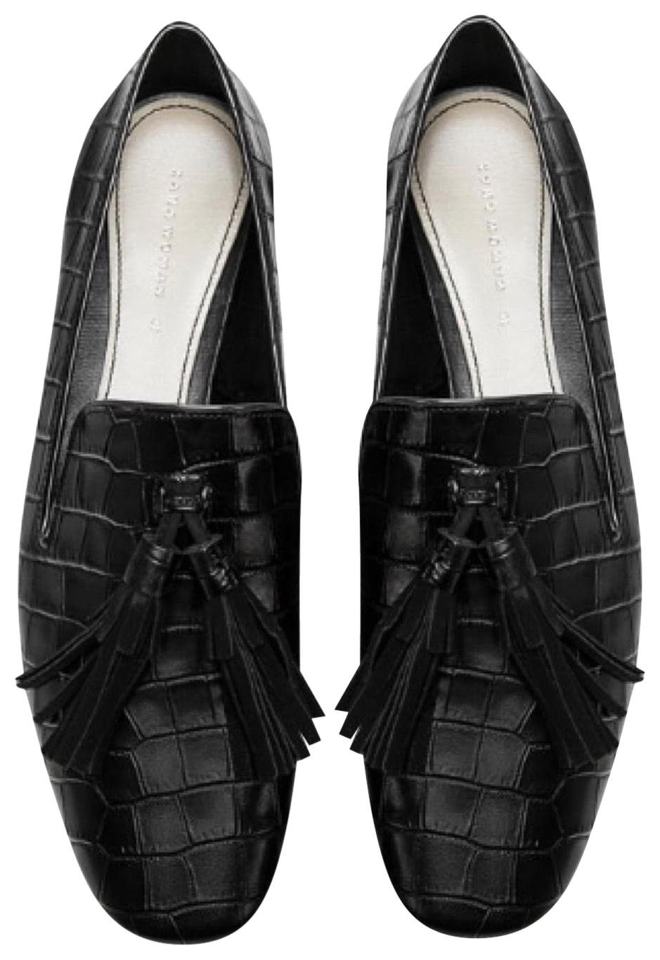 fc995d4935c Zara Black Embossed Leather Loafers Loafers Loafers Flats Size EU 38 (Approx.  US 8) Regular (M