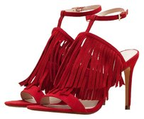 Zara Fringe Suede Heeled Red Sandals
