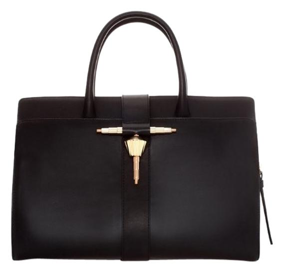 Zara leather bag metal tab