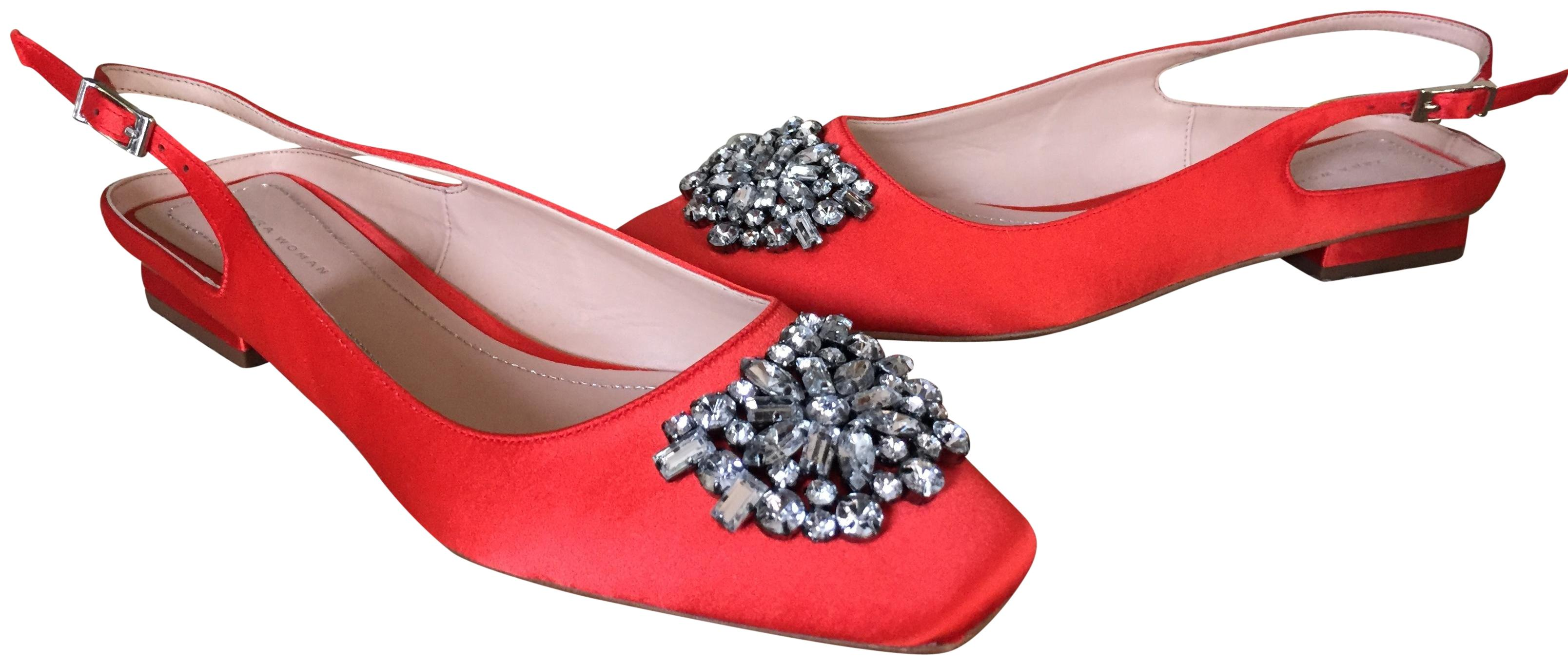 Zara Red Bright Satin Slingback Flats W/ Rhinestone Detail Formal Shoes Size US 7 Regular (M, B)