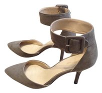 Zara Suede Pointed Toe Ankle Strap GRAY KHAKI Pumps
