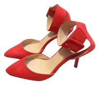 Zara Suede Pointed Toe Ankle Strap Preppy Classic RED ORANGE Pumps