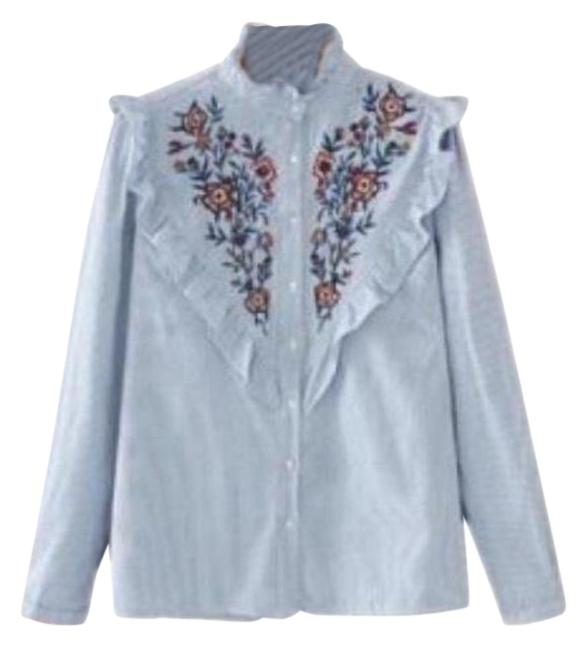 Zara Blue Embroidered Floral Stripe Ruffle Peasant Top On Tradesy