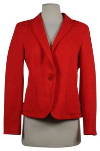 Zara Zara Basic Womens Red Textured Blazer Cotton Jacket