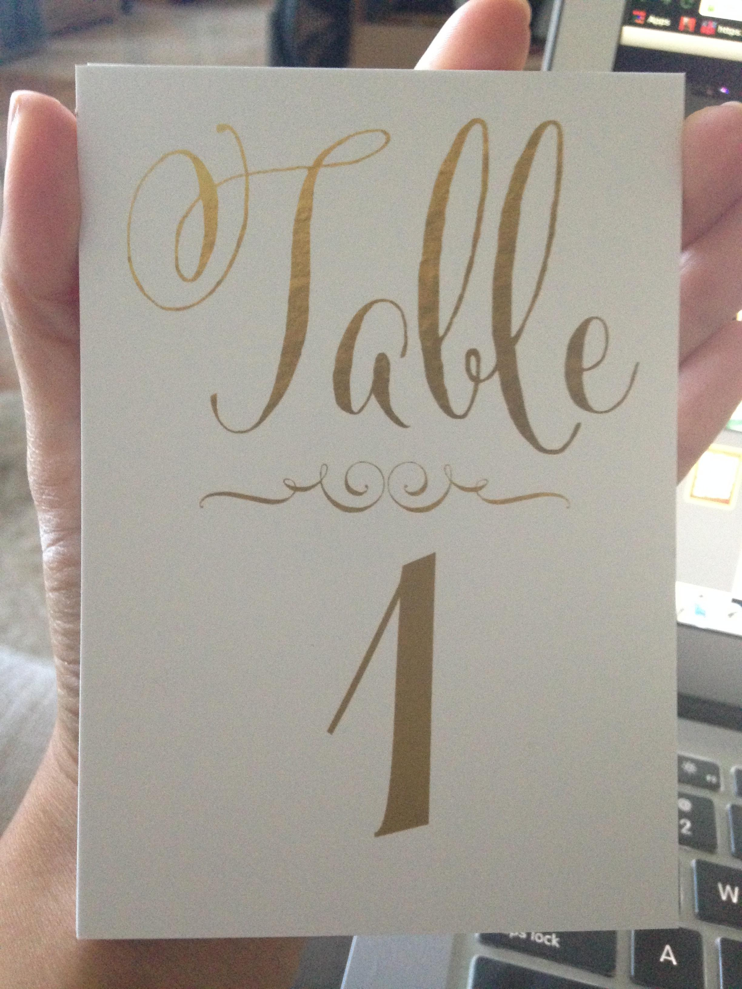 Zazzle White Gold Foil Lettering Wedding Table Number Cards