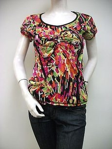 zoe&zac Zoe Floral Print Mesh Ruched Sleeves Bust Top Multi-Color